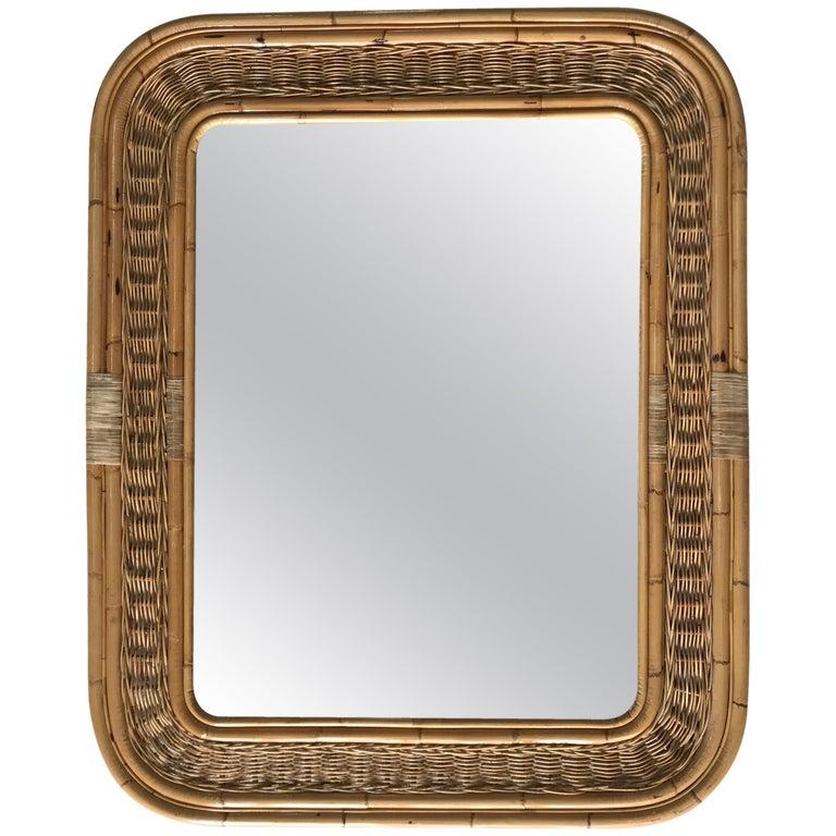 Postmodern Bamboo Wicker Rattan Mirror For Sale