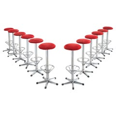 Postmodern Bar Stools in Metal and Red Corduroy Upholstery