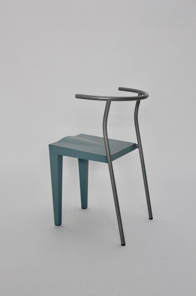 Postmodern Blue Vintage Chair by Philippe Starck 1980s for Kartell Italy In Good Condition For Sale In Vienna, AT