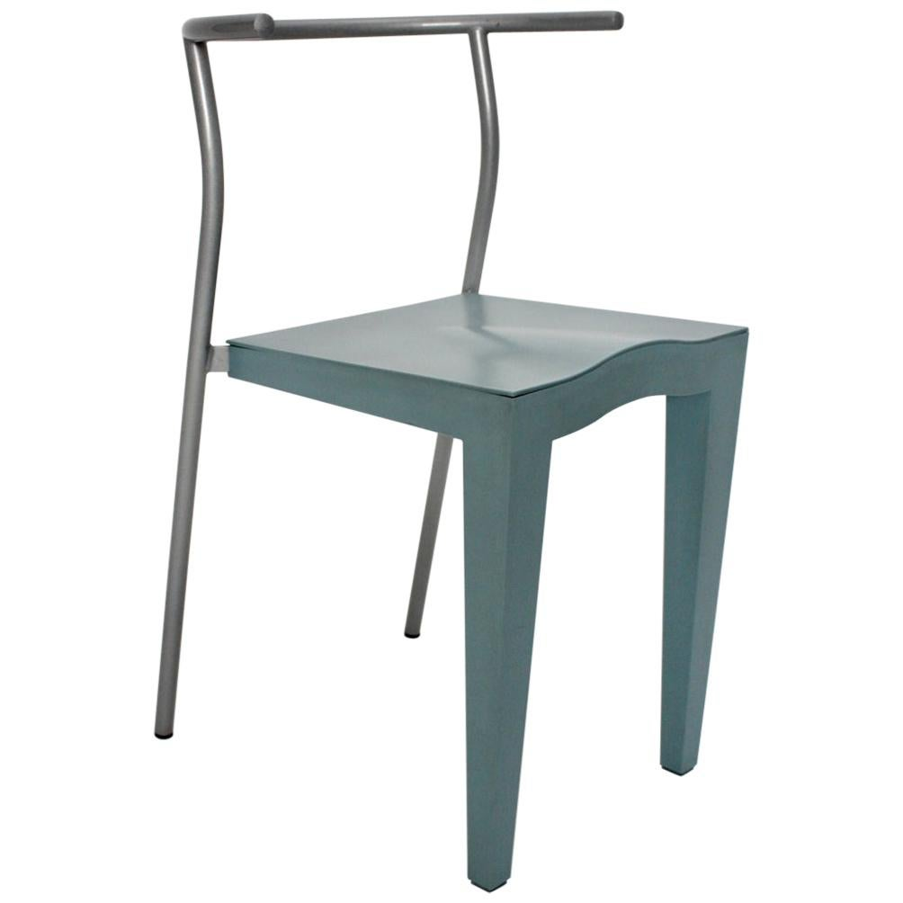 Postmodern Blue Vintage Chair by Philippe Starck 1980s for Kartell Italy