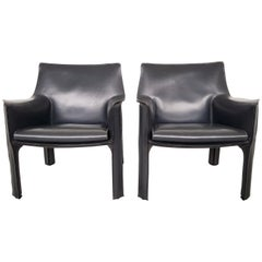 Postmodern Cassina CAB 414 Pair of Dark Grey Lounge Chairs, 1980s