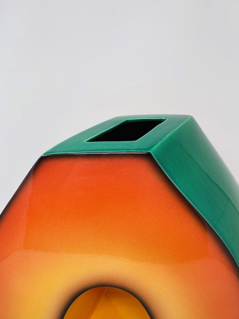 American Postmodern Ceramic Fred Stodder Architectural Vase
