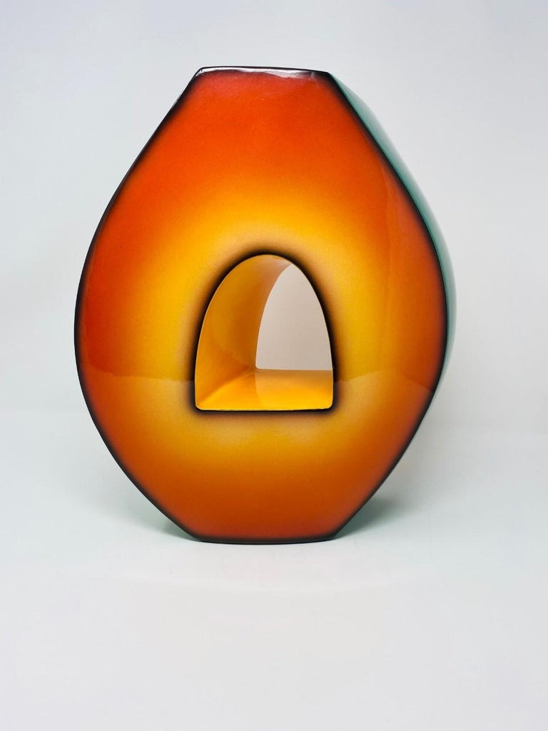 Late 20th Century Postmodern Ceramic Fred Stodder Architectural Vase