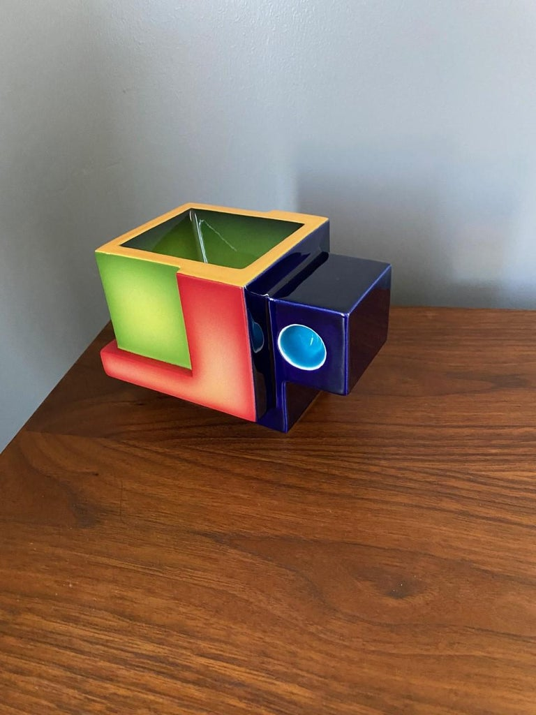 American Postmodern Ceramic Fred Stodder Geometric Mug