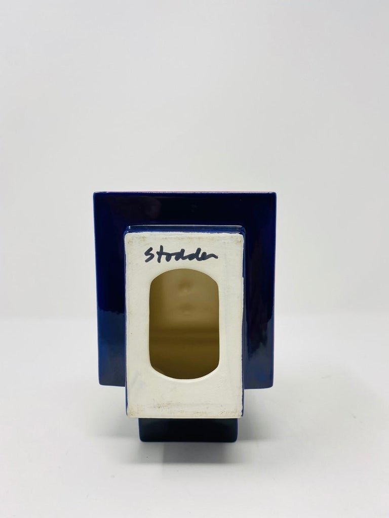 Hand-Crafted Postmodern Ceramic Fred Stodder Geometric Mug