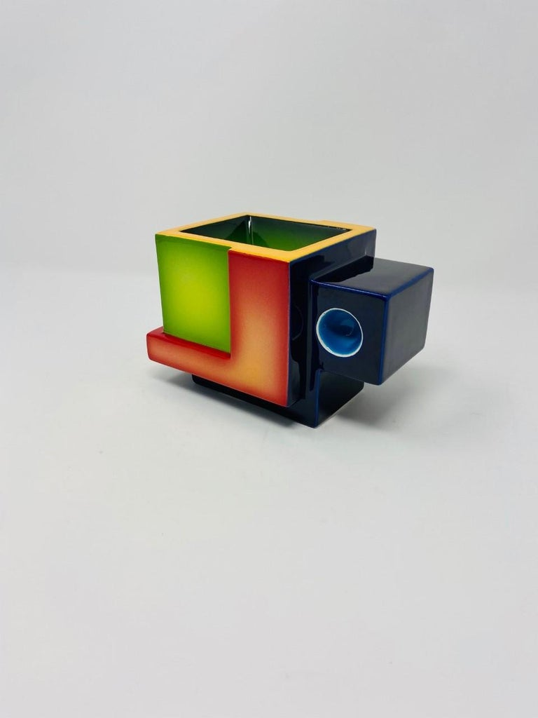 Postmodern Ceramic Fred Stodder Geometric Mug In Good Condition In San Diego, CA