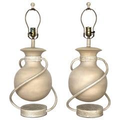 Postmodern Ceramic/Metal Floating Sphere Table Lamps