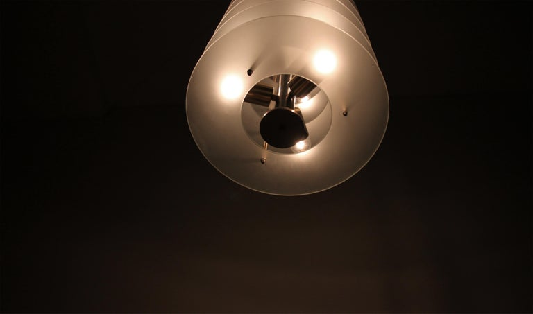 Large Postmodern Chandelier in Glass and Steel, 1980s For Sale 2