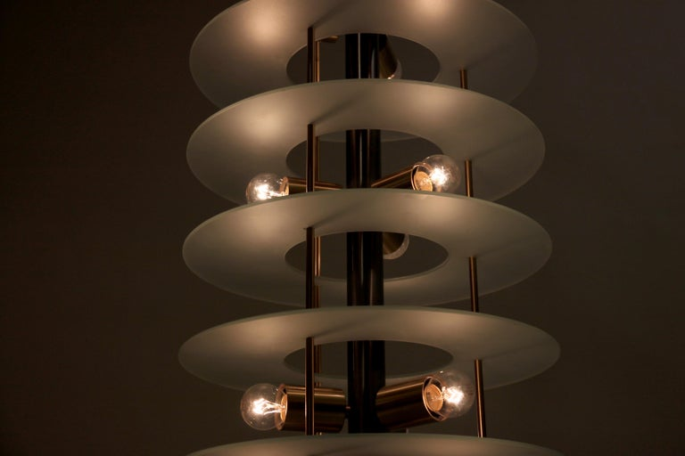 Large Postmodern Chandelier in Glass and Steel, 1980s For Sale 3