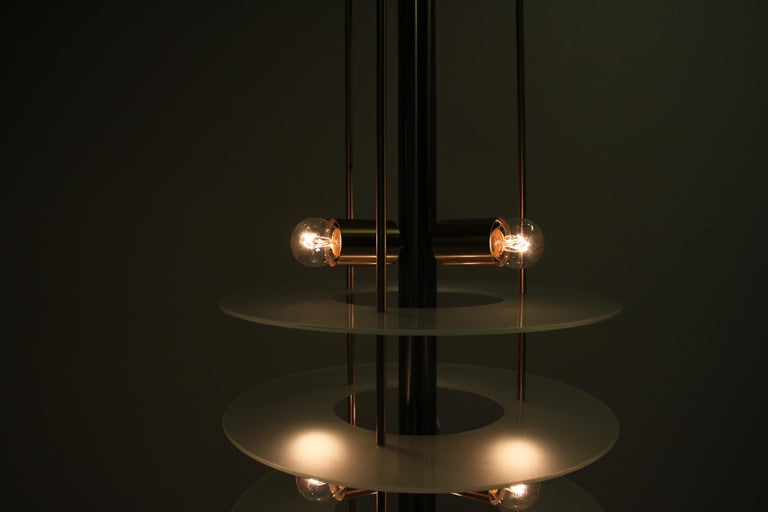 Large Postmodern Chandelier in Glass and Steel, 1980s For Sale 4