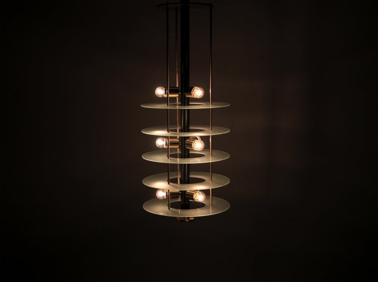Large Postmodern Chandelier in Glass and Steel, 1980s For Sale 5