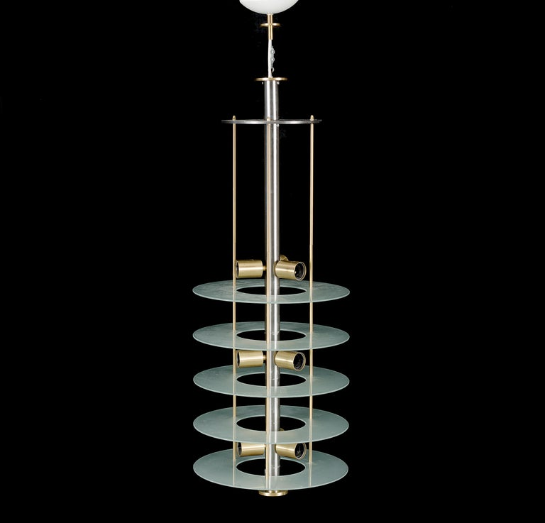 Scandinavian Large Postmodern Chandelier in Glass and Steel, 1980s For Sale