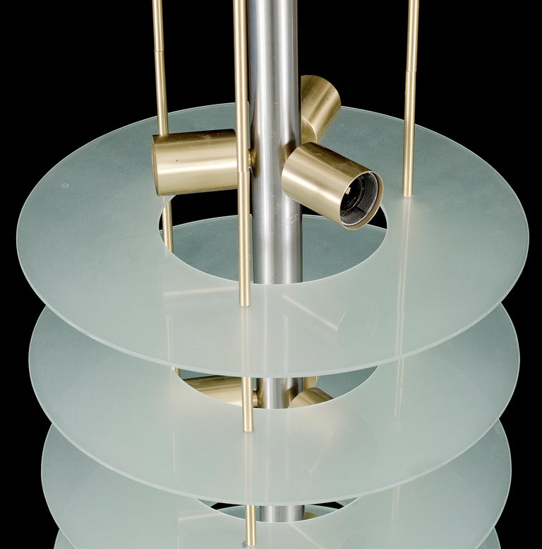 Large Postmodern Chandelier in Glass and Steel, 1980s In Good Condition For Sale In Oslo, NO