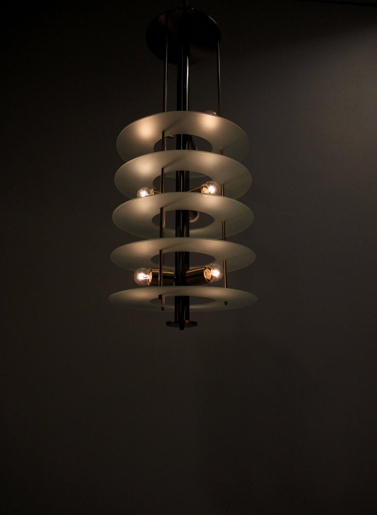 Late 20th Century Large Postmodern Chandelier in Glass and Steel, 1980s For Sale