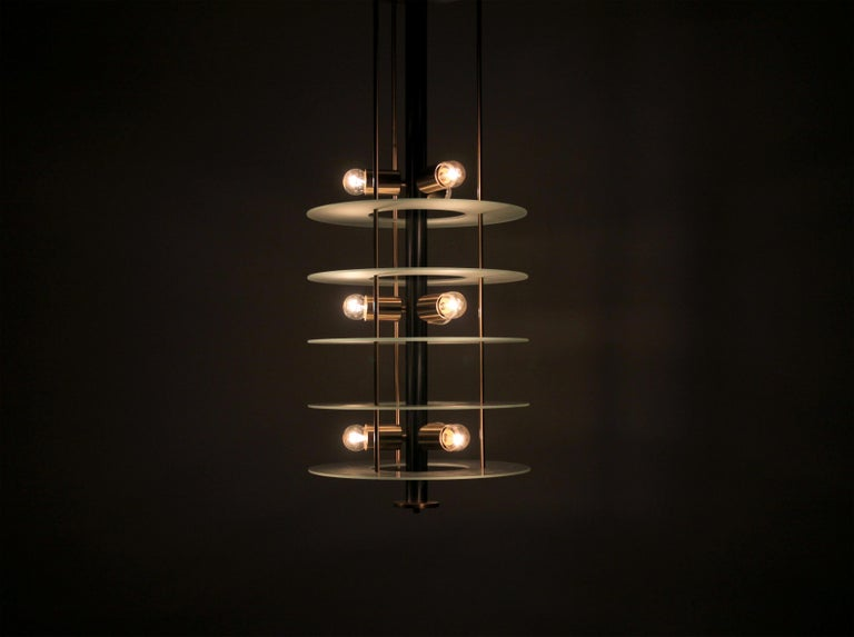 Brass Large Postmodern Chandelier in Glass and Steel, 1980s For Sale