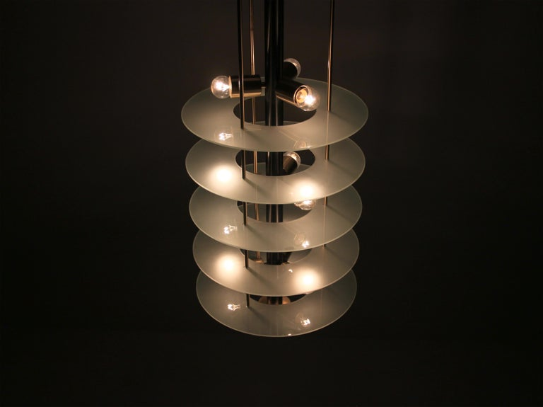 Large Postmodern Chandelier in Glass and Steel, 1980s For Sale 1