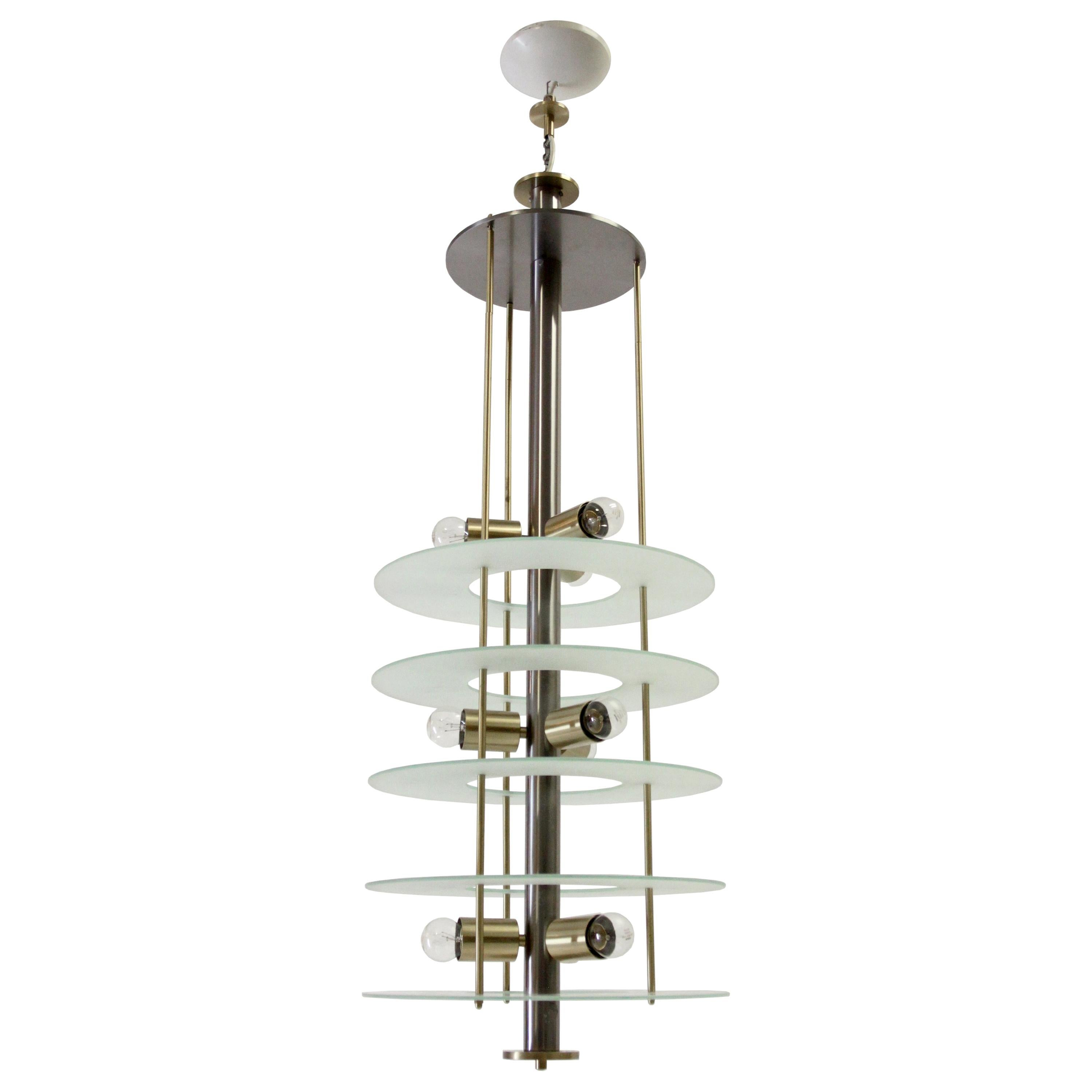 Large Postmodern Chandelier in Glass and Steel, 1980s