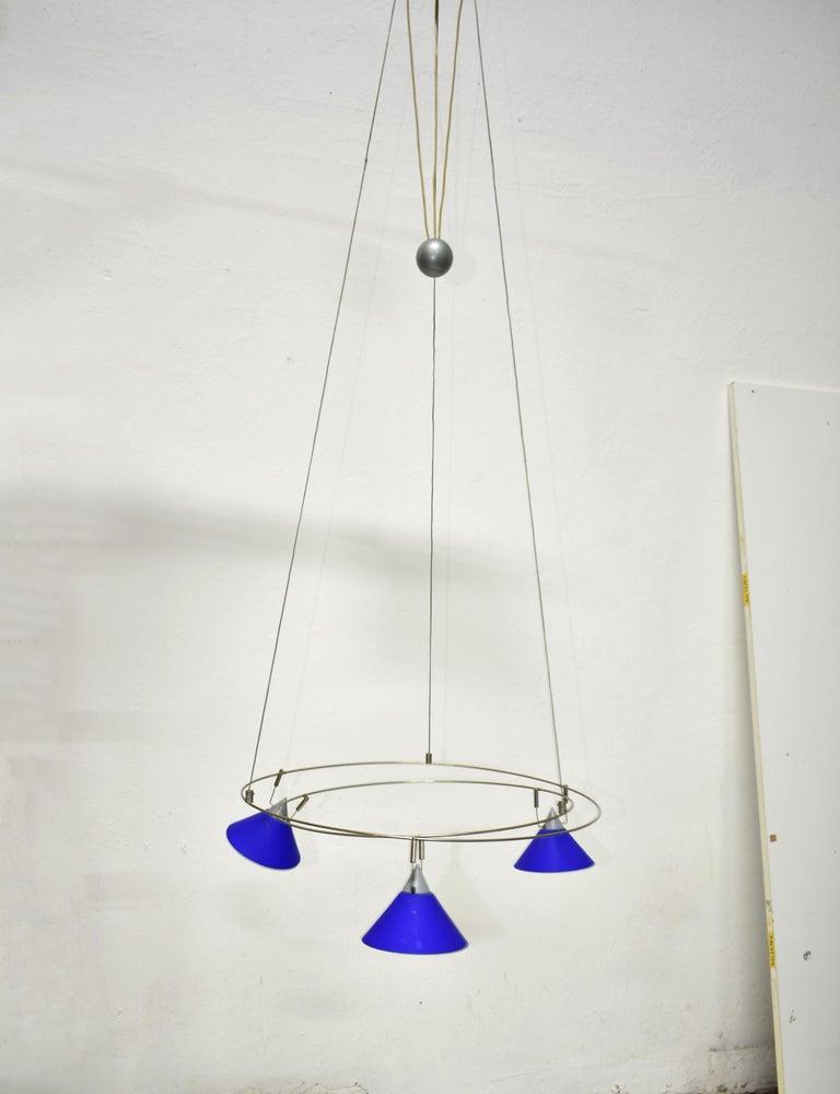 Post-Modern Postmodern Chandelier with 3 Halogen Spotlights in Blue Glass, Germany, 1980s For Sale