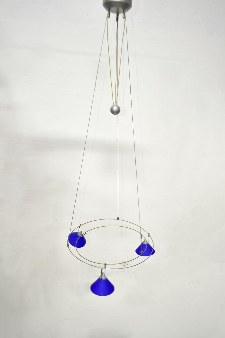 Postmodern Chandelier with 3 Halogen Spotlights in Blue Glass, Germany, 1980s In Good Condition For Sale In Zagreb, HR