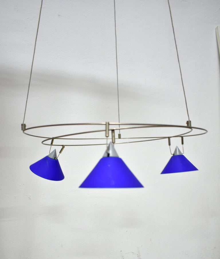 20th Century Postmodern Chandelier with 3 Halogen Spotlights in Blue Glass, Germany, 1980s For Sale