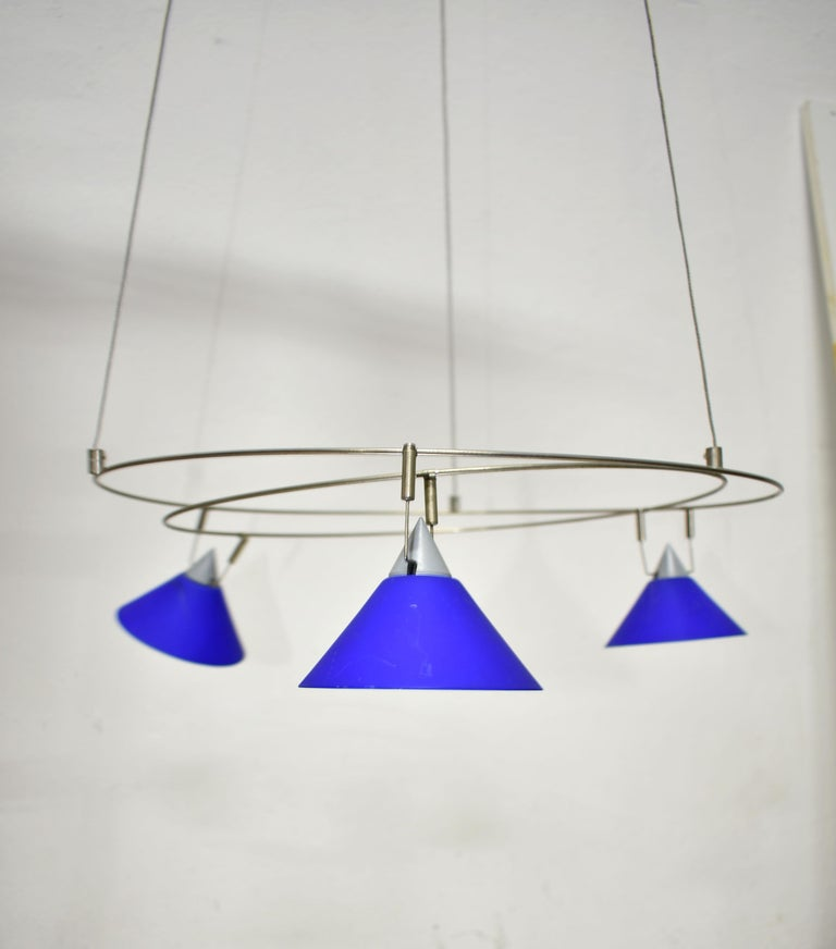 Metal Postmodern Chandelier with 3 Halogen Spotlights in Blue Glass, Germany, 1980s For Sale