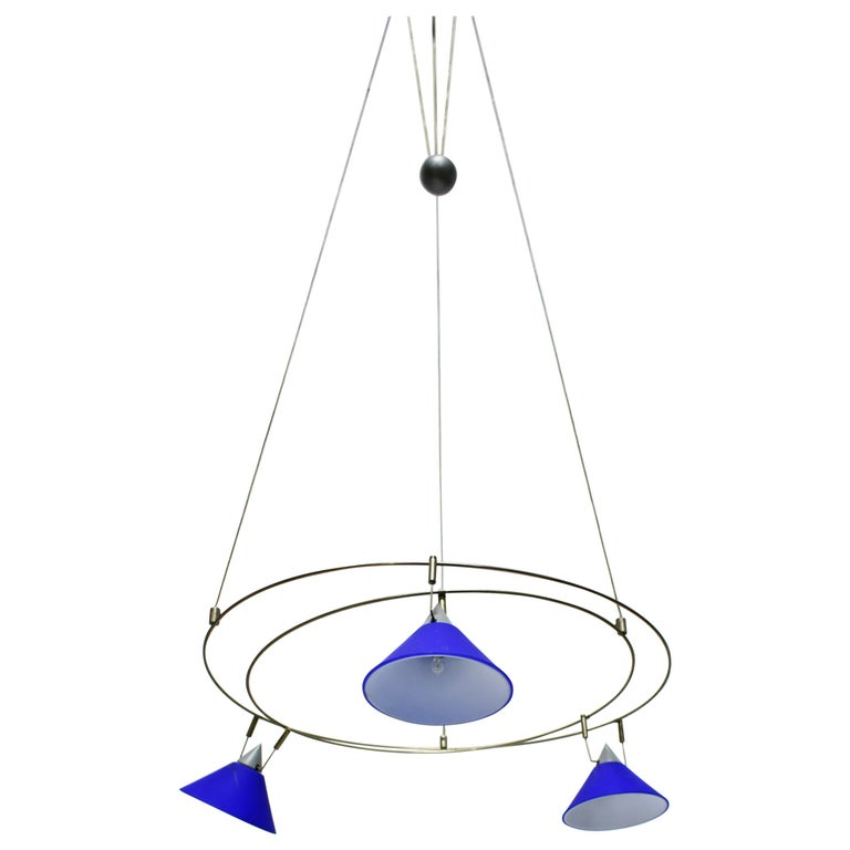 Postmodern Chandelier with 3 Halogen Spotlights in Blue Glass, Germany, 1980s For Sale