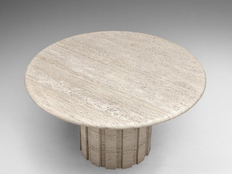 German Postmodern Circular Travertine Table, 1970s For Sale