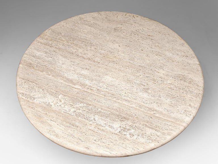 Postmodern Circular Travertine Table, 1970s In Good Condition For Sale In Waalwijk, NL