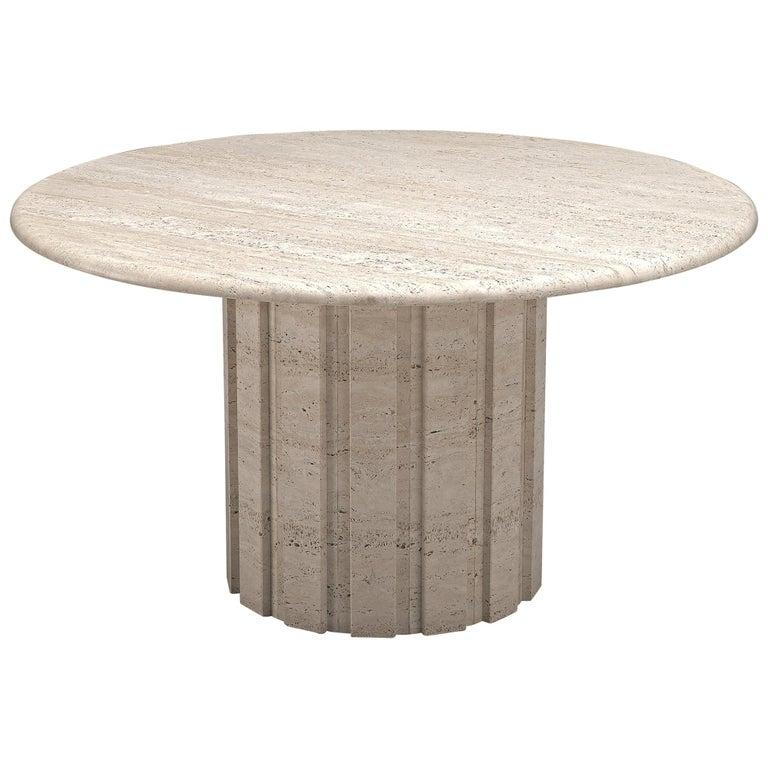 Postmodern Circular Travertine Table, 1970s For Sale