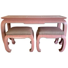Postmodern Console Table and Stools Ottomans