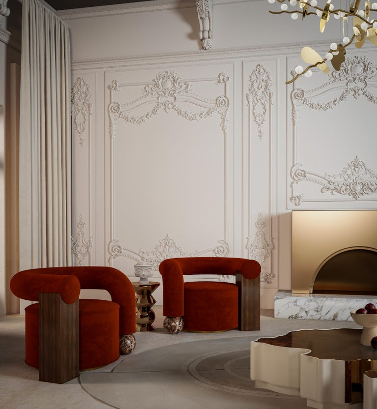 Contemporary Postmodern Cotton Velvet Galatea Armchair Walnut Wood and Emperador Marble For Sale