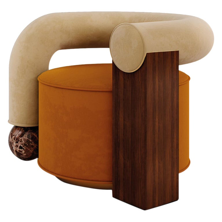 Postmodern Cotton Velvet Galatea Armchair Walnut Wood and Emperador Marble For Sale