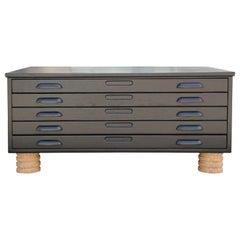 Postmodern Custom Black Stained Oak Custom Flat File Cabinet Coffee Table