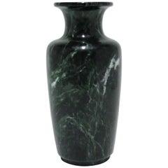 Postmodern Dark Green Marble Urn Form Vase