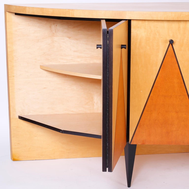 Postmodern Demilune Credenza or Cabinet In Excellent Condition For Sale In Palm Beach, FL