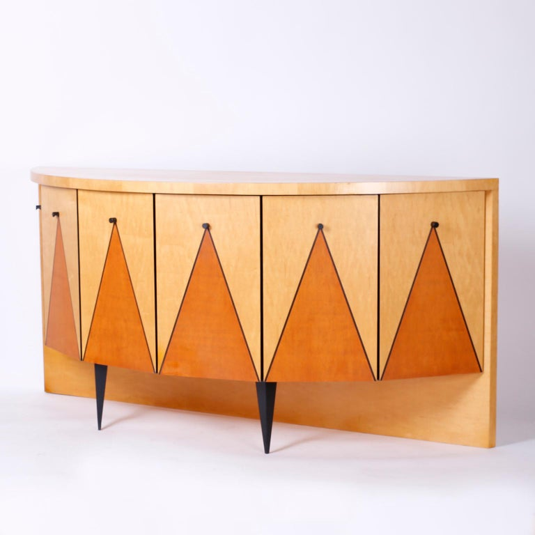 Postmodern Demilune Credenza or Cabinet For Sale 1