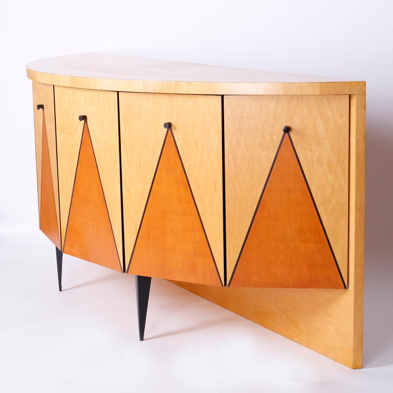 Postmodern Demilune Credenza or Cabinet For Sale 2