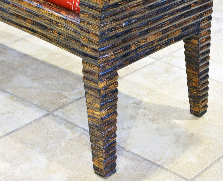 Postmodern Design Tessellated Coconut Palm Wood Bench by Enrique Garcel For Sale 7