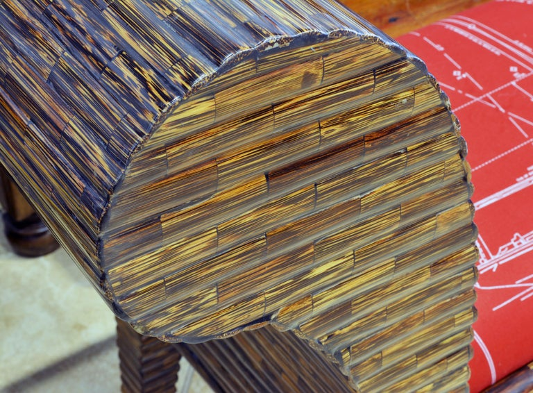 Colombian Postmodern Design Tessellated Coconut Palm Wood Bench by Enrique Garcel For Sale