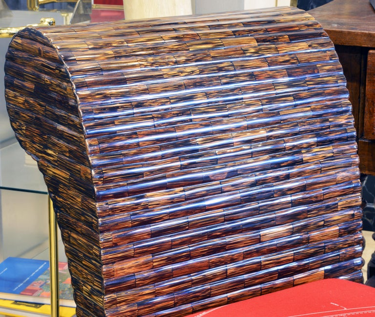 Postmodern Design Tessellated Coconut Palm Wood Bench by Enrique Garcel For Sale 1