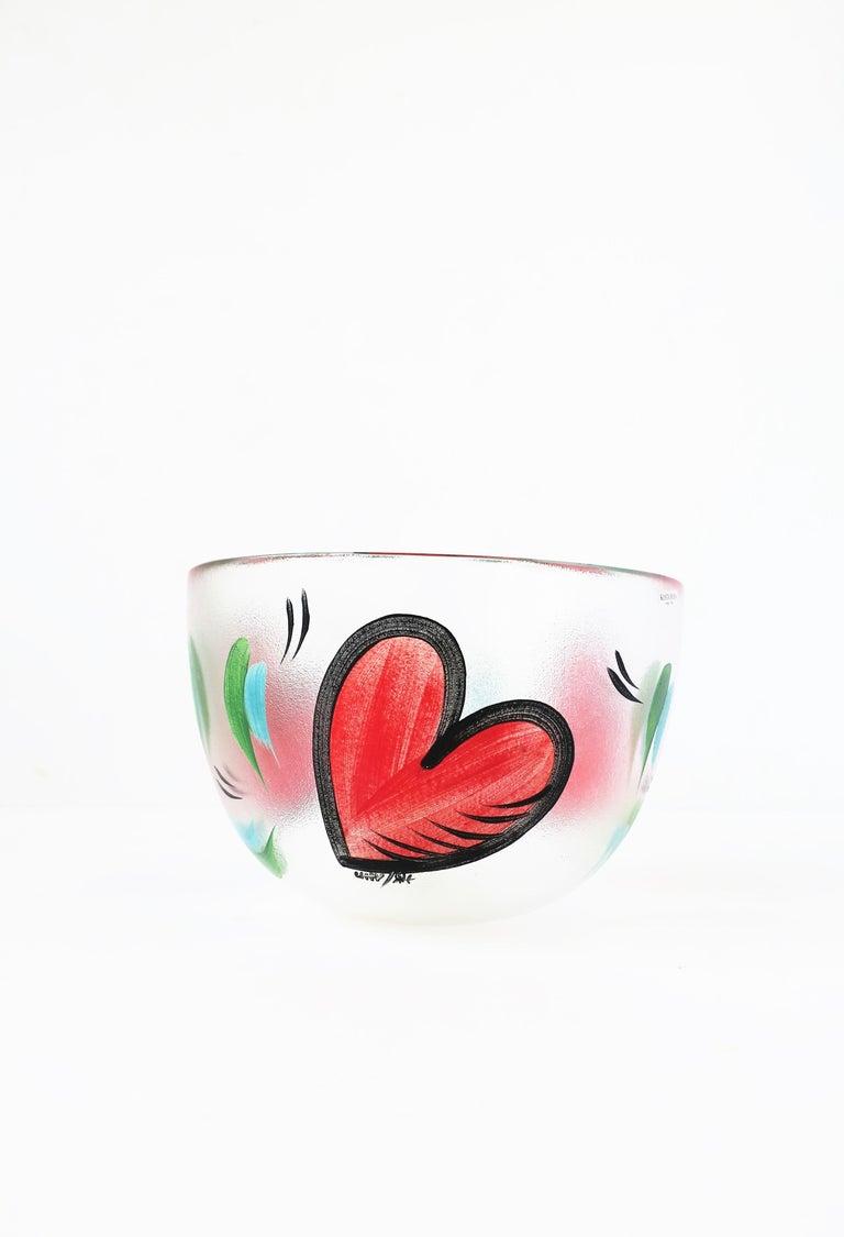 Post-Modern Postmodern Designer Bowl Hearts by Artist Ulrica Hydman-Vallien for Kosta Boda