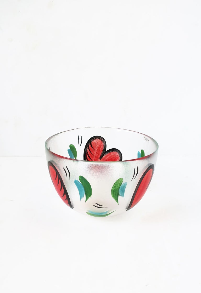 Hand-Painted Postmodern Designer Bowl Hearts by Artist Ulrica Hydman-Vallien for Kosta Boda