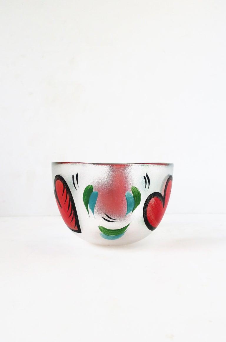 Postmodern Designer Bowl Hearts by Artist Ulrica Hydman-Vallien for Kosta Boda In Good Condition In New York, NY