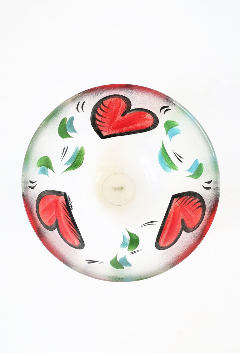 20th Century Postmodern Designer Bowl Hearts by Artist Ulrica Hydman-Vallien for Kosta Boda