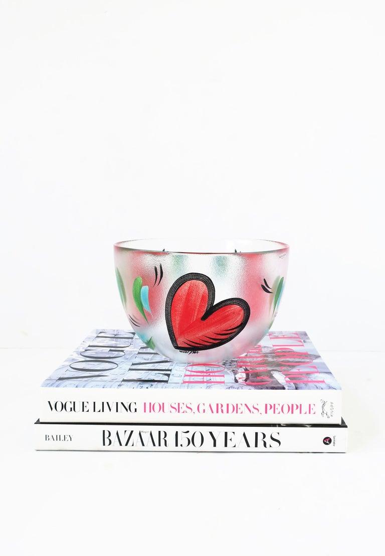 Glass Postmodern Designer Bowl Hearts by Artist Ulrica Hydman-Vallien for Kosta Boda