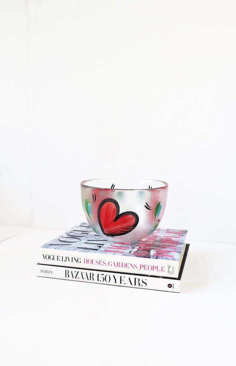 Postmodern Designer Bowl Hearts by Artist Ulrica Hydman-Vallien for Kosta Boda 1