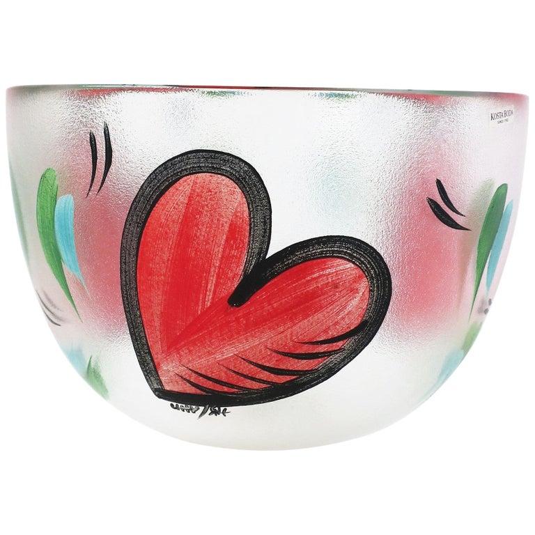 Postmodern Designer Bowl Hearts by Artist Ulrica Hydman-Vallien for Kosta Boda
