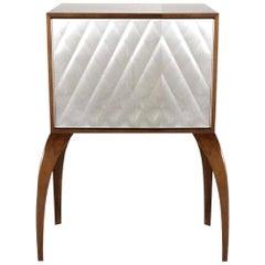 Postmodern Dialogica Mahogany, Walnut and Steel Cabinet by Sergio Savarese, 1992