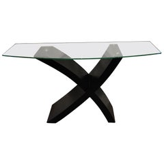 "Postmodern Ebonized Wood ""X"" Console Table"