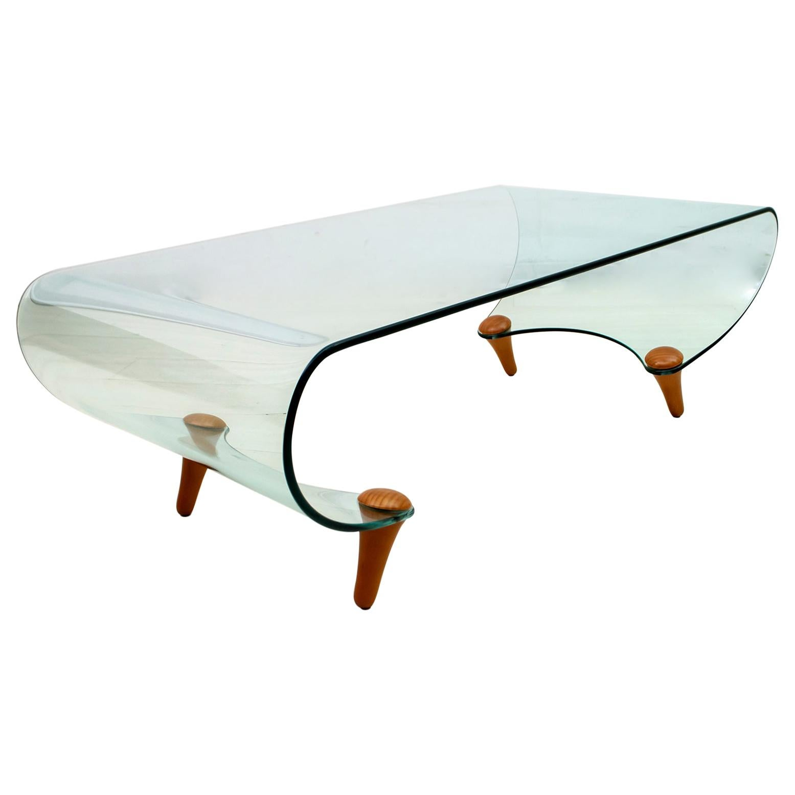 "Postmodern Fabio Di Bartolomei Curved Glass Coffee Table ""Tango"" by Fiam Italia"